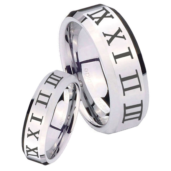 His Hers Roman Numeral Beveled Edges Silver Tungsten Personalized Ring Set