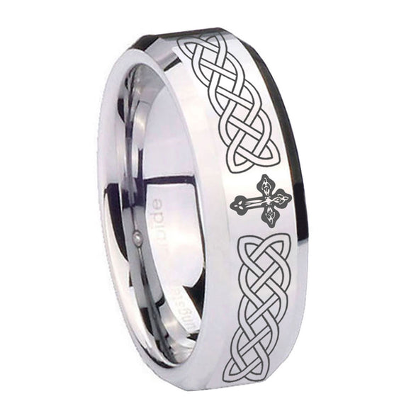 10mm Celtic Cross Beveled Edges Silver Tungsten Carbide Mens Anniversary Ring