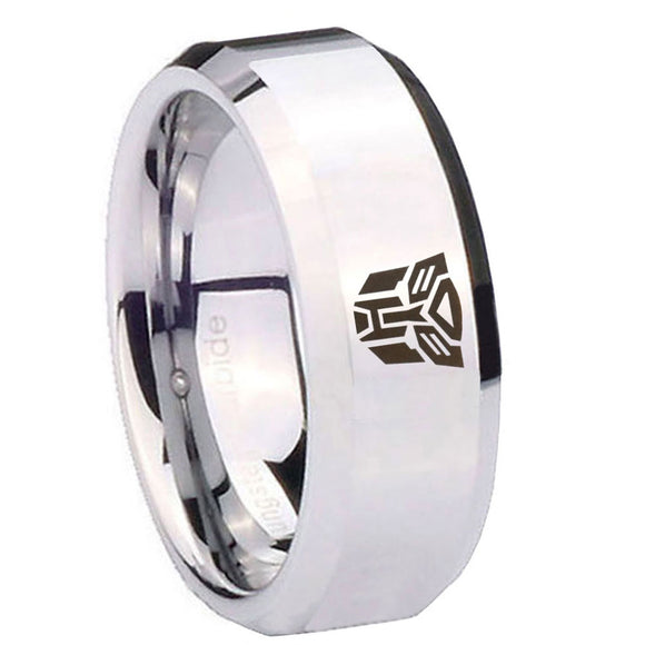 10mm Transformers Autobot Beveled Edges Silver Tungsten Mens Promise Ring