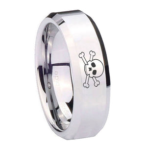 10mm Skull Beveled Edges Silver Tungsten Carbide Wedding Bands Ring