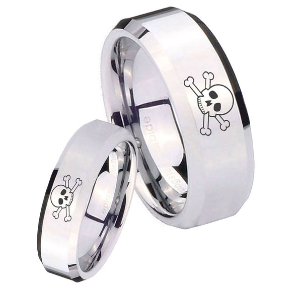 His and Hers Skull Beveled Edges Silver Tungsten Mens Engagement Ring Set