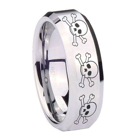 10mm Multiple Skull Beveled Edges Silver Tungsten Carbide Mens Ring Personalized