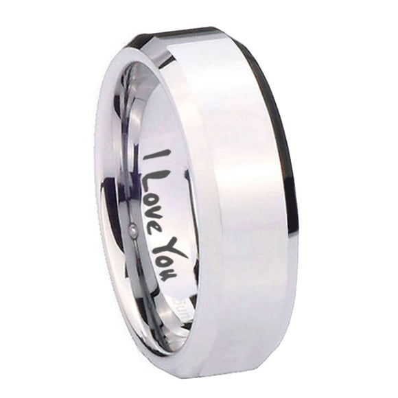 10mm I Love You Beveled Edges Silver Tungsten Carbide Men's Engagement Band