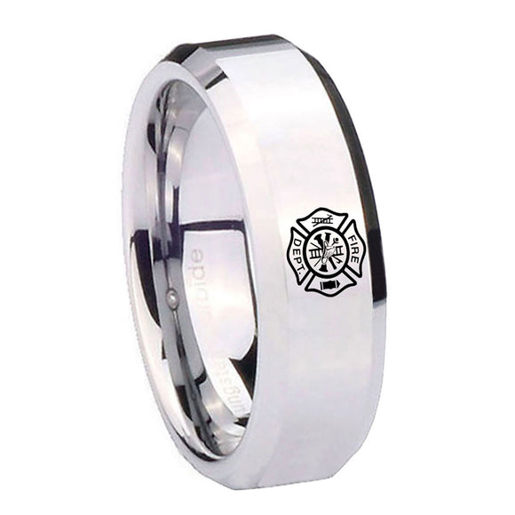 10mm Fire Department Beveled Edges Silver Tungsten Carbide Custom Ring for Men