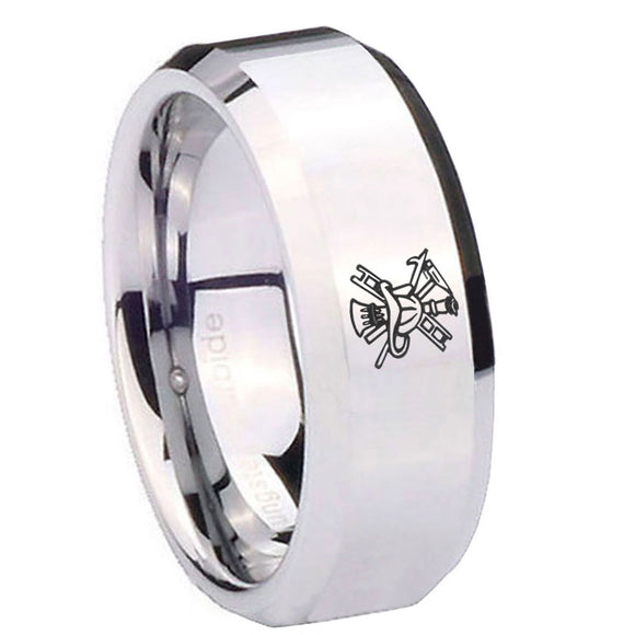 10mm Fireman Beveled Edges Silver Tungsten Carbide Mens Engagement Ring