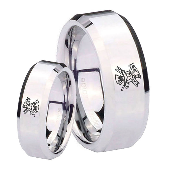 His Hers Fireman Beveled Edges Silver Tungsten Mens Engagement Band Set