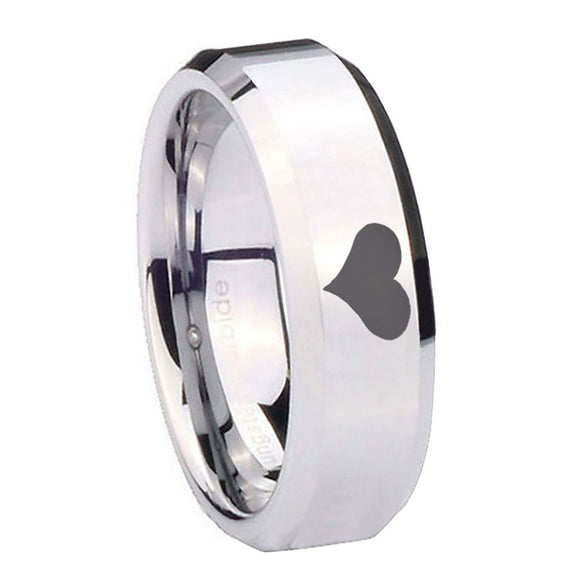 10mm Heart Beveled Edges Silver Tungsten Carbide Mens Ring Engraved