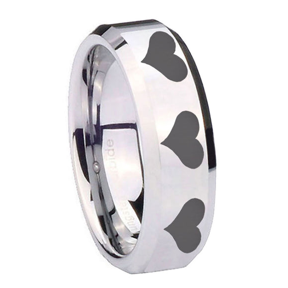 10mm Multiple Heart Beveled Edges Silver Tungsten Carbide Men's Wedding Band