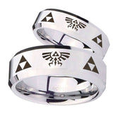 His Hers Legend of Zelda Beveled Edges Silver Tungsten Wedding Band Ring Set