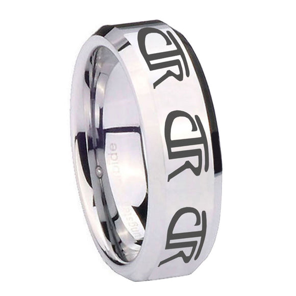 10mm Multiple CTR Beveled Edges Silver Tungsten Carbide Men's Band Ring