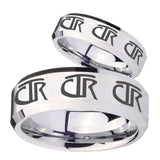 His Hers Multiple CTR Beveled Edges Silver Tungsten Mens Wedding Ring Set