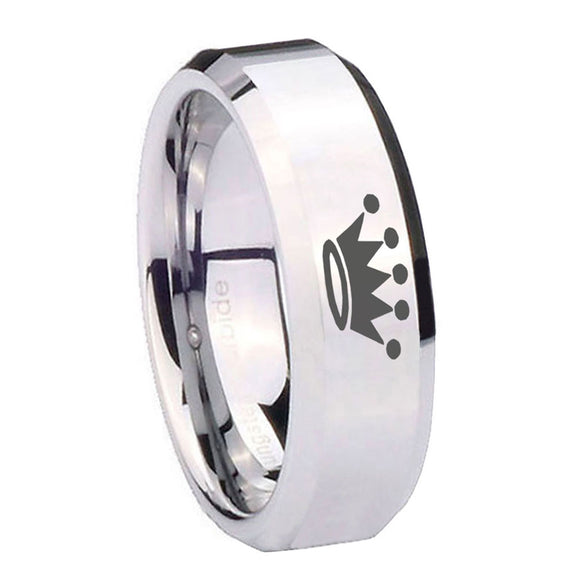 10mm Crown Beveled Edges Silver Tungsten Carbide Mens Ring Personalized