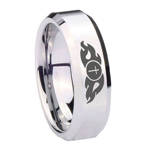 10mm Flamed Cross Beveled Edges Silver Tungsten Carbide Men's Wedding Ring