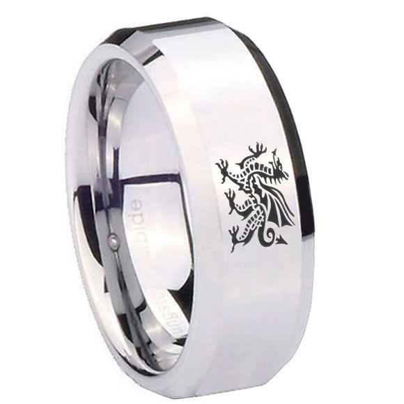10mm Dragon Beveled Edges Silver Tungsten Carbide Men's Wedding Ring
