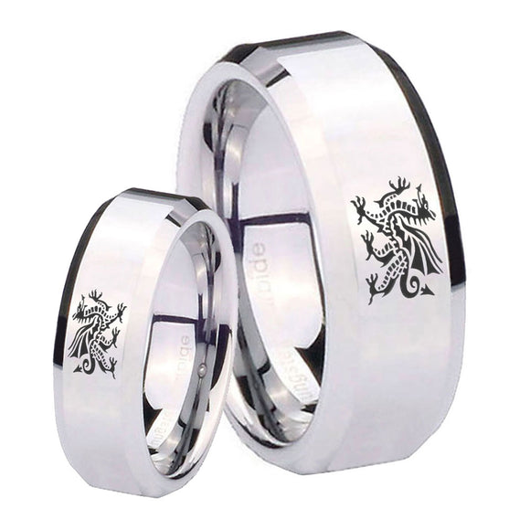 His and Hers Dragon Beveled Edges Silver Tungsten Mens Ring Engraved Set