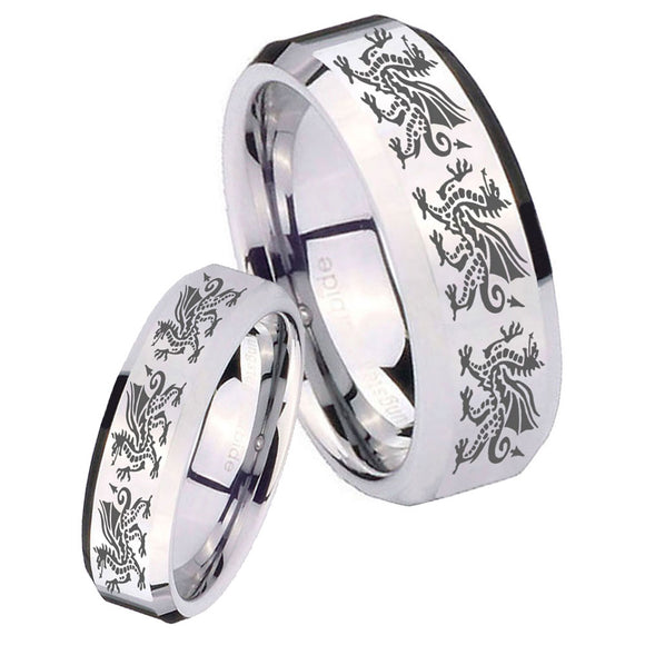 His Hers Multiple Dragon Beveled Edges Silver Tungsten Engraved Ring Set