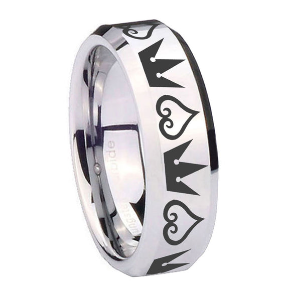 10mm Hearts and Crowns Beveled Edges Silver Tungsten Carbide Wedding Bands Ring