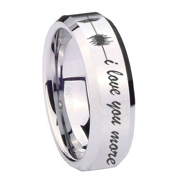 10mm Sound Wave, I love you more Beveled Silver Tungsten Wedding Engagement Ring