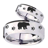 His Hers Bear and Paw Beveled Edges Silver Tungsten Custom Mens Ring Set