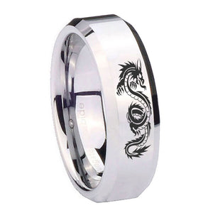 10mm Dragon Beveled Edges Silver Tungsten Carbide Mens Engagement Band