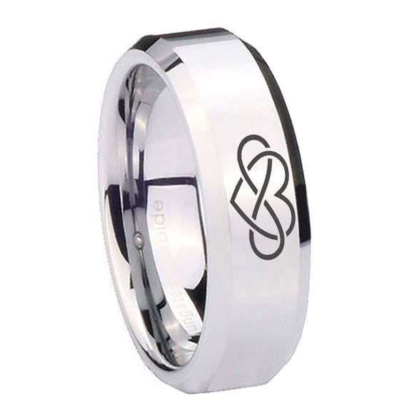 10mm Infinity Love Beveled Edges Silver Tungsten Carbide Men's Engagement Band