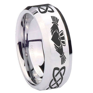 10mm Irish Claddagh Beveled Edges Silver Tungsten Carbide Bands Ring