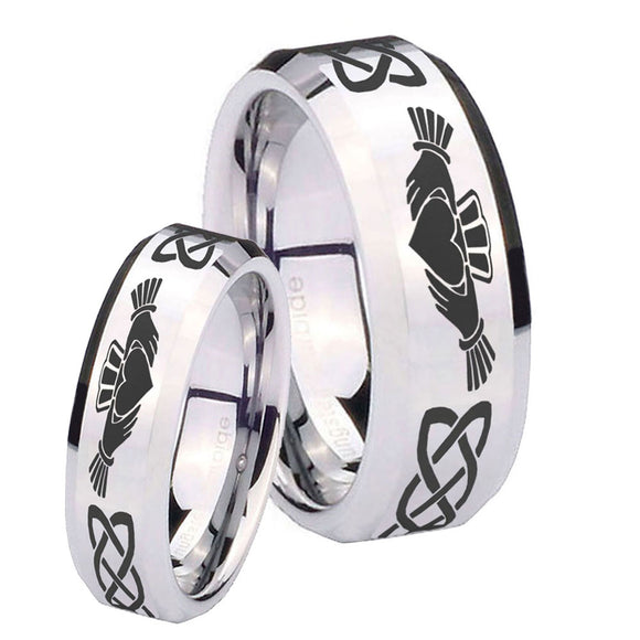His Hers Irish Claddagh Beveled Edges Silver Tungsten Mens Ring Engraved Set