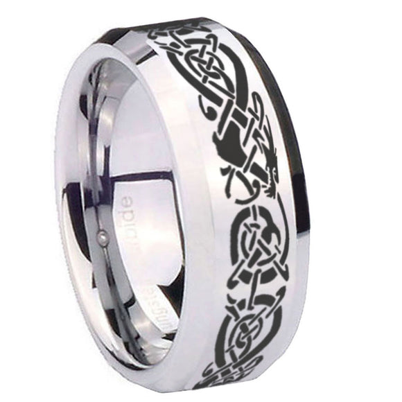 10mm Celtic Knot Dragon Beveled Edges Silver Tungsten Carbide Men's Ring