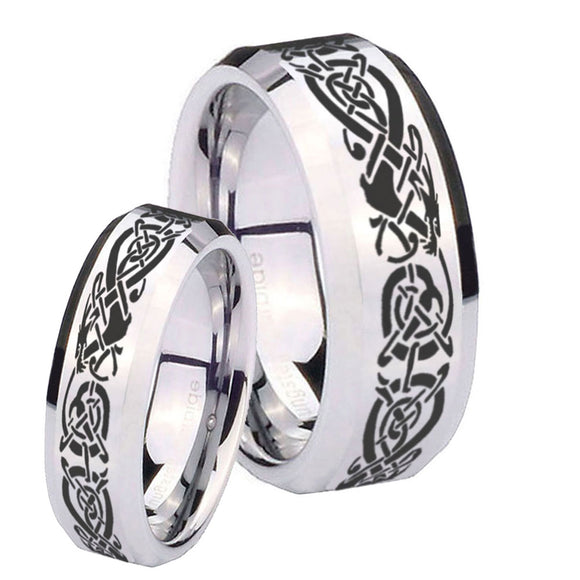 His Hers Celtic Knot Dragon Beveled Edges Silver Tungsten Mens Wedding Band Set