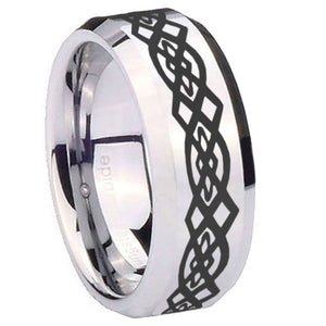 10mm Celtic Knot Beveled Edges Silver Tungsten Carbide Mens Ring Engraved