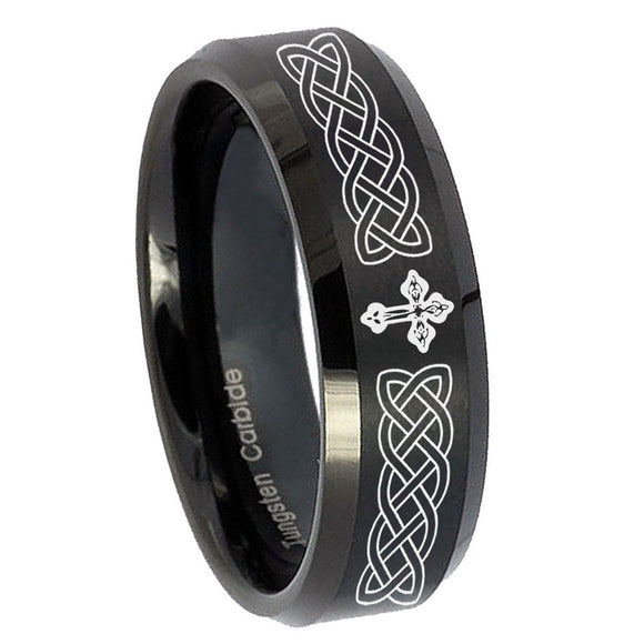 10mm Celtic Cross Beveled Edges Brush Black Tungsten Men's Engagement Band