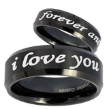 His Hers I Love You Forever and ever Beveled Brush Black Tungsten Engraving Ring Set