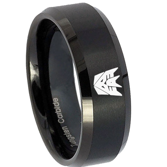 8mm Decepticon Transformers Beveled Edges Brush Black Tungsten Men's Bands Ring
