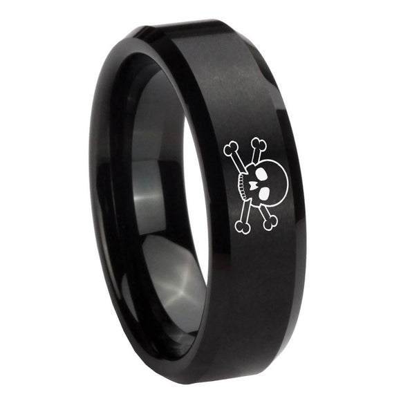 8mm Skull Beveled Edges Brush Black Tungsten Carbide Bands Ring