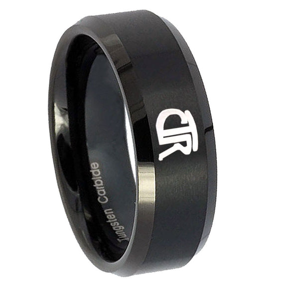 8mm CTR Beveled Edges Brush Black Tungsten Carbide Rings for Men