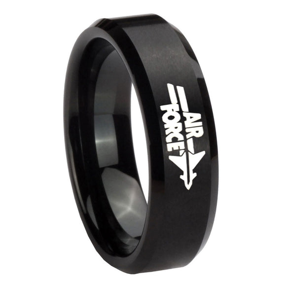 8MM Brush Black Beveled Edges Air Force Tungsten Laser Engraved Ring