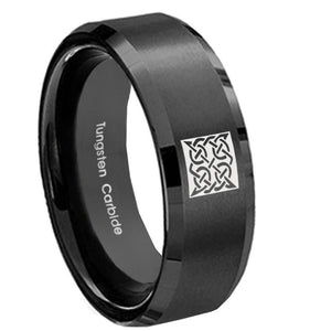 8mm Celtic Design Beveled Edges Brush Black Tungsten Carbide Men's Wedding Ring