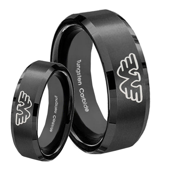 His Hers Waylon Jennings Beveled Edges Brush Black Tungsten Ring Set
