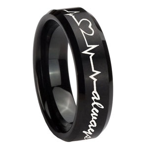 10mm Heart Beat forever Heart always Beveled Brush Black Tungsten Engraved Ring