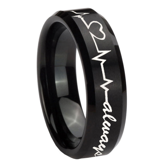 8mm Heart Beat forever Heart always Beveled Brush Black Tungsten Engagement Ring