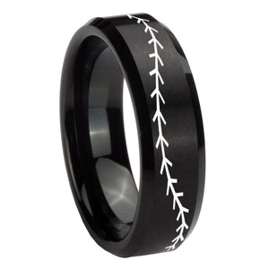 8mm Baseball Stitch Beveled Edges Brush Black Tungsten Mens Anniversary Ring