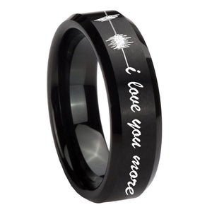 8mm Sound Wave I love you more Beveled Brush Black Tungsten Mens Bands Ring