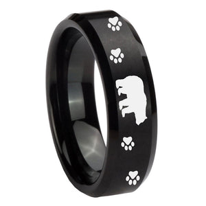 8mm Bear and Paw Beveled Edges Brush Black Tungsten Carbide Mens Ring Engraved