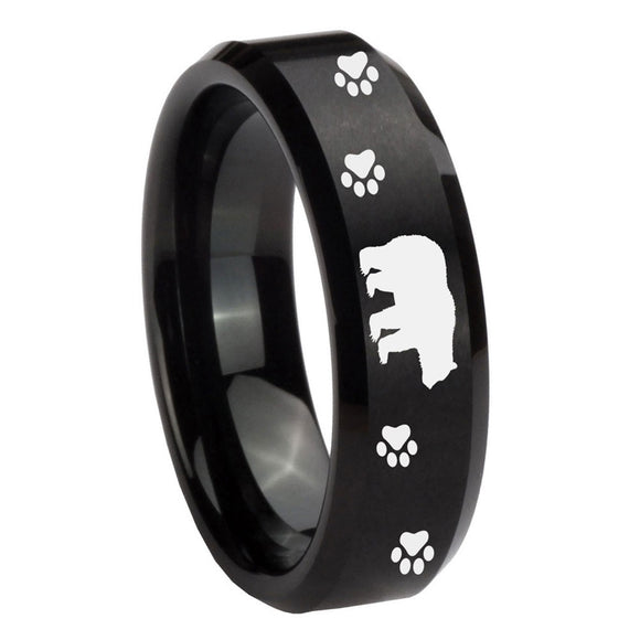 10mm Bear and Paw Beveled Edges Brush Black Tungsten Carbide Mens Ring