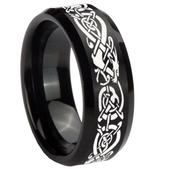 8mm Celtic Knot Dragon Beveled Edges Brush Black Tungsten Carbide Men's Ring