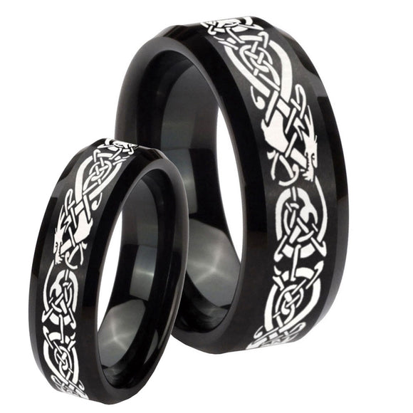 His Hers Celtic Knot Dragon Beveled Brush Black Tungsten Mens Ring Engraved Set