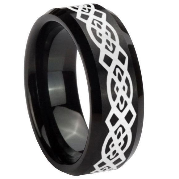 8mm Celtic Knot Beveled Edges Brush Black Tungsten Mens Ring Personalized
