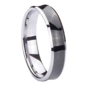 5MM Tungsten Carbide Concave Black Two Tone Women Bands Ring