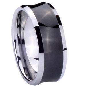8MM Tungsten Carbide Concave Black Two Tone Men Bands Ring