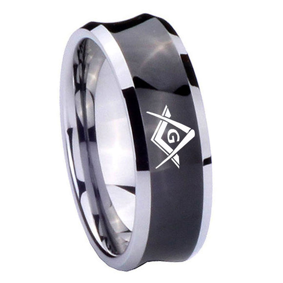 10mm Freemason Masonic Concave Black Tungsten Carbide Promise Ring